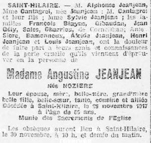 Jeanjean Augustine avis de décès Saint Hilaire