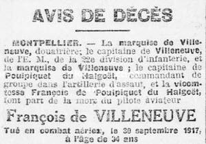 de Villeneuve François avis de décès 1917
