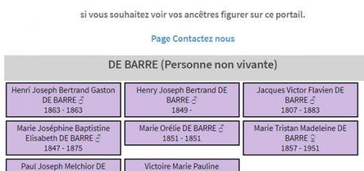 généalogie DE BARRE