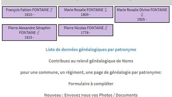 généalogie FONTAINE