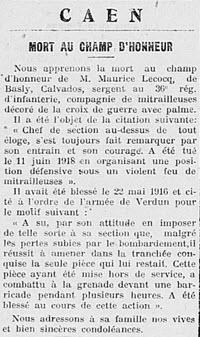 Lecoq Maurice 1918