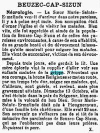 Soeur Marie Sainte Ermelinde 1918
