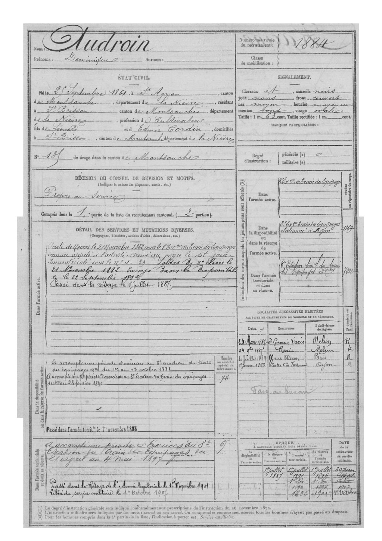 fiche registre matricule